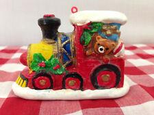 Vintage Plastic Christmas Tree Teddy Bear Presents Train Engine Ornament