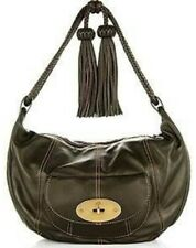 EUC MULBER** nappa leather black hobo bag w/ braided strap and tassle accents