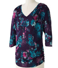 New~NWT~LAUREN CONRAD Floral Dolman Tunic~Purple, Teal, Pink, Gray~Size XS. S