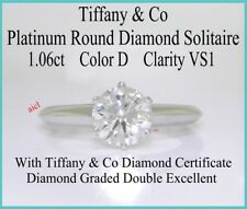 TIFFANY & CO PLAT ROUND DIAMOND SOLITAIRE RING ~ 1.06ct  D VS1  DOUBLE EXCELLENT