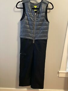 Obermeyer Aspen Colorado Boys Ski Bib Snow Pants Ski Suit Gray Black Size 8