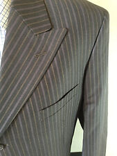 Phat Farm Virgin Wool Jacket Brown Striped 3 Button Peak Lapels Blazer Sz 42R