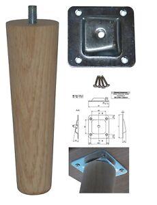 Wooden Tapered BEECH & OAK LEGS / FEET 45mm - 30mm & M8 Bolt  Leg Stool Foot