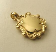 GENUINE  9K 9ct  SOLID  GOLD  DOUBLE  SIDED 3D  HEAVY SMALL  SHIELD  PENDANT