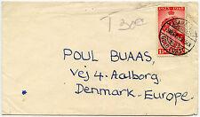 GOLD COAST 1949 SILVER WEDDING 1 1/2d to DENMARK...ASAMANKESE