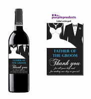 FATHER OF THE GROOM WEDDING DAY THANK YOU WINE BOTTLE LABEL GIFT