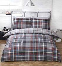 Double duvet set tartan check quilt cover reversible bedding grey red & blue