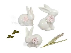 Ceramic White Rabbit Hare Bunny Ornament with Pink Flower Decoration