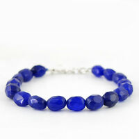 132.55 CTS EARTH MINED RICH BLUE SAPPHIRE OVAL SHAPE FACETED BEADS BRACELET (RS)