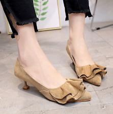 Ladies Fashion Kitten Heels Pump Slip On Pointed Toe Party Shoes Sandals Size
