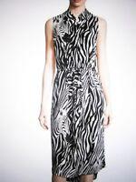 $348 NWT EQUIPMENT FEMME 'BRETT' SILK ZEBRA PRINT SLEEVELESS SHIRTDRESS Sz: M