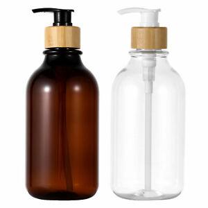 2 Soap Lotion Dispenser Bottle w/Bamboo Pump Set for Kitchen Sink Bathroom 500ml
