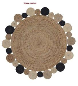 Rug 100% Natural Jute  2x2 Feet Reversible Carpet Living Modern Area Rug
