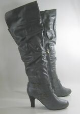 """Gray 3"""" Low Heel Round Toe Sexy Over The Knee Boot Size 6.5"""