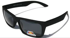 Matte flat rubberized black polarized sunglasses retro 80's square shade