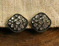 Clip-on antique look crystal earrings, silver or gold color, square design