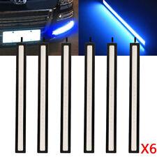 6pcx 12V LED STRIP DRL DAYTIME RUNNING LIGHTS FOG COB CAR LAMP BLUE DAY DRIVING