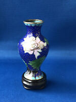Very Small Cloisonne Metal Vase Pink Flower Bright Dark Blue Wooden Stand