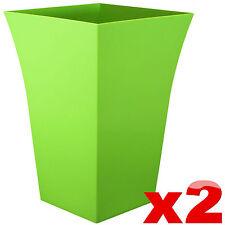 2 X Large MILANO Planter Square Plastic Garden Flower Plant Pot Lime Green Trend