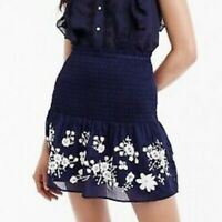 J. Crew Point Sur Small Embroidered Skirt Navy Blue White Smocked Mini MSRP $69