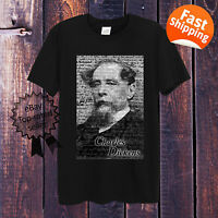 Charles Dickens T-Shirt White Grey Men Women Fitted Poet Writer Classic English