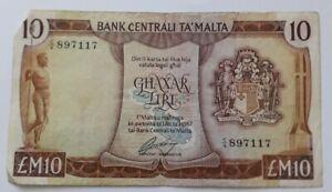 Malta 10 Pound Banknote 1967