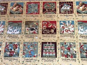 12 Days Of Christmas 39 Labels/squares/panel 30 X 110Cm 100% Cotton Nutex 3 Rows