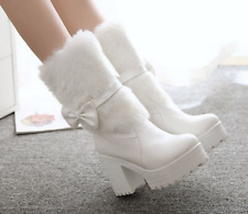 Womens Faux Fur Bow Knot Mid Calf Snow Boots High Block Heels Platform Shoes A70