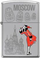 Zippo Windy Girl Traveling Cities Moscow High Polish Chrome New Rare