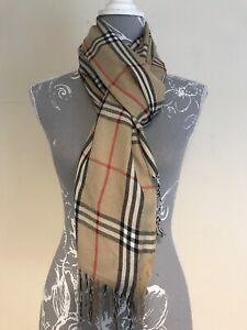 Ladies Beige Red Black & White Check Scarf With Fringes