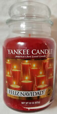 Yankee Candle FELIZ NAVIDAD Large Jar 22 Oz Red Housewarmer New Wax Christmas