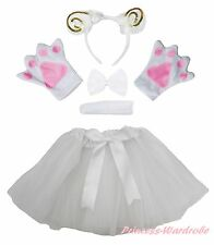 Halloween Party Gold Sheep Goat Adult Headband Paw Tail Bow Skirt Costume 5P Set