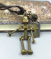NEW Gold Men Metal Screw robot pendant Genuine Leather Surfer Choker Necklace