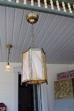 ANTIQUE SLAG GLASS 6 SIDE MISSION PORCH /HALL PENDANT LIGHT FIXTURE HANGING LAMP