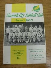 26/09/1970 Norwich City v Hull City  (Tiny Pen Mark On Cover). Thanks for viewin