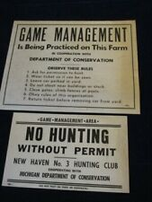 Vtg Mi Department of Conservation Dnr Game Management & No Hunting Poster Lot J5