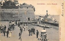 9386) PESCHIERA ARRIVO DEL PIROSCAFO MOLO AFFOLATO CARROZZA E BARCHE VG 1901