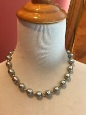 Sign Miriam Haskell Huge Baroque Silver Pearls Rhinestone Leaf Necklace Jewelry