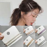 Fashion Women Pearl Hair Clip Snap Barrette Bobby Stick Hairpin Hair Accessories