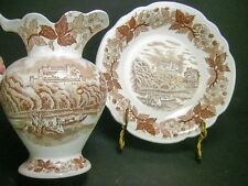 Old Brown Transferware Small Bowl and Pitcher Vase English Castle