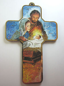 """Holy Family Nativity Picture Wall Cross on Wood  5"""" Made in Italy"""