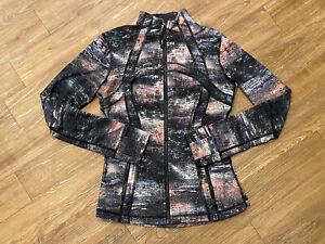 Womens LULULEMON Define Jacket Azurite Poppy Coral Multi Colored Zip Up Size 8