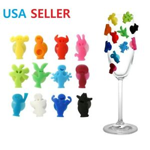 Drink Markers Silicone Glass Markers Party People / Charms set of 12 W/Suction