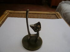 VINTAGE RETRO 1970,S STYLISED ART DECO CAT SILVER PLATED RING HOLDER