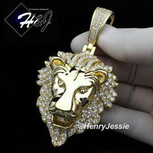 MEN 14K GOLD FINISH ICY DIAMOND BLING GOLD LION KING HEAD PENDANT*BGP5