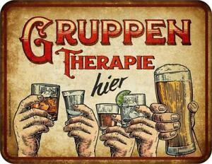 Männer Funschild - Gruppen Therapie - Sprüche Schilder Blechschild Bier Schild