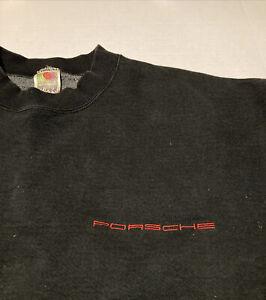 Vintage 90s Porsche Car Racing Automobile Promo Sweatshirt Sz XL Black Rare