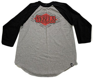 Rebel 8 3/4 Sleeve Mens Shirt Med Grey Pre Owned #L1