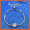 18K WHITE GOLD GF MINI DIAMOND CHARM SOLID SPARKLING STRAND BANGLE BRACELET GIFT