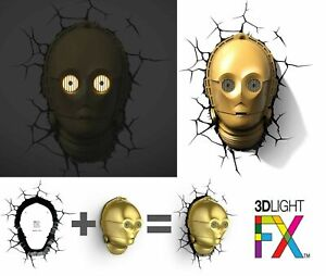 3D wall Light LED from Star Wars C3PO Droid & Sticker Night lamp